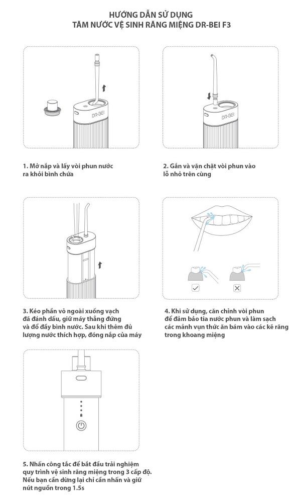 Tăm nước vệ sinh răng miệng DR-BEI F3 – Salesman